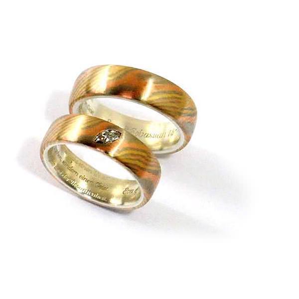 Eheringe Mokumegane Rotgold Gelbgold Weissgold Diamant (1007082 )