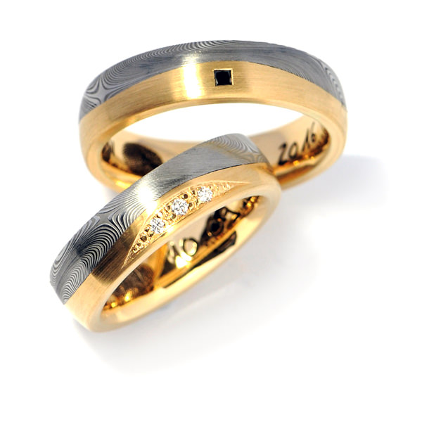 Eheringe Gelbgold Damaszenerstahl Brillanten Diamant schwarz (1007977)