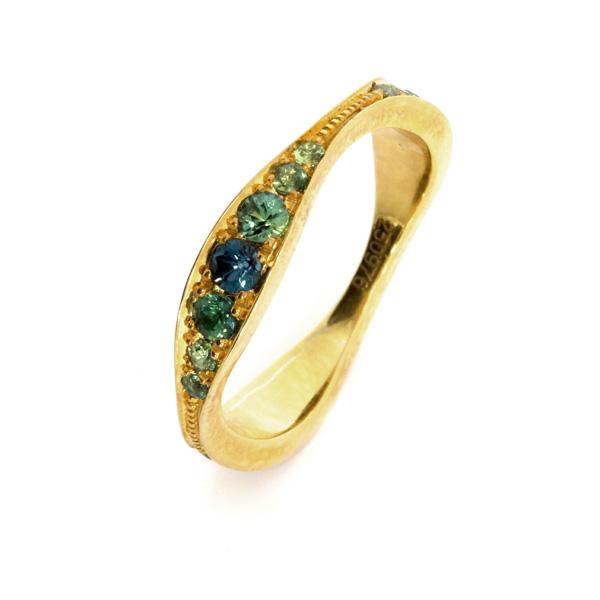 Damenring Silber Gelbgold Saphire blaugruen Klassisch Welle (250976)