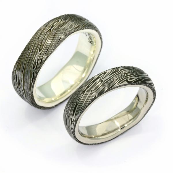 Eheringe Damaszenerstahl Silber Palladium (251212)